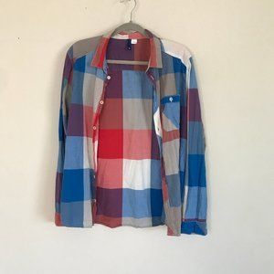 Plaid Button Up - Red White Blue Gray